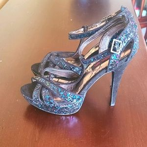 Material Girl strappy glittery heels